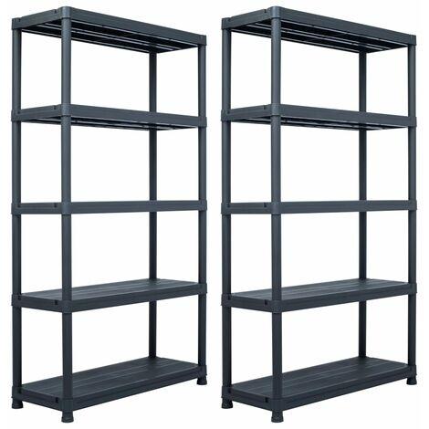 Storage Shelf Racks 2 pcs Black 500 kg 100x40x180 cm Plastic