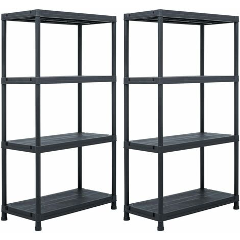 Storage Shelf Racks 2 pcs Black 60x30x138 cm Plastic