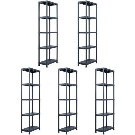 Storage Shelf Racks 5 pcs Black 125 kg 60x30x180 cm Plastic