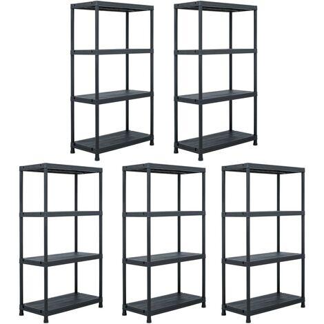 Storage Shelf Racks 5 pcs Black 60x30x138 cm Plastic