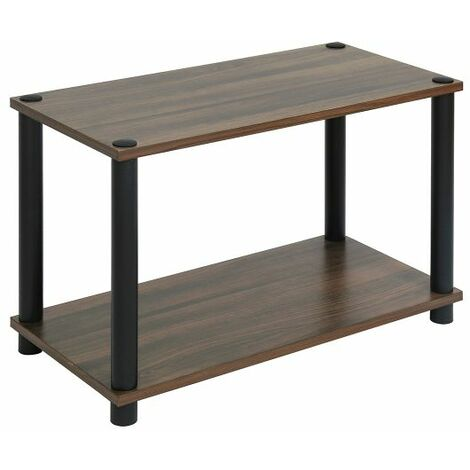 Storage Shelf Rectangle Side Table Night Stand Coffee Table with 2-Tier Storage Rack, Wood Look Accent Sofa End Table