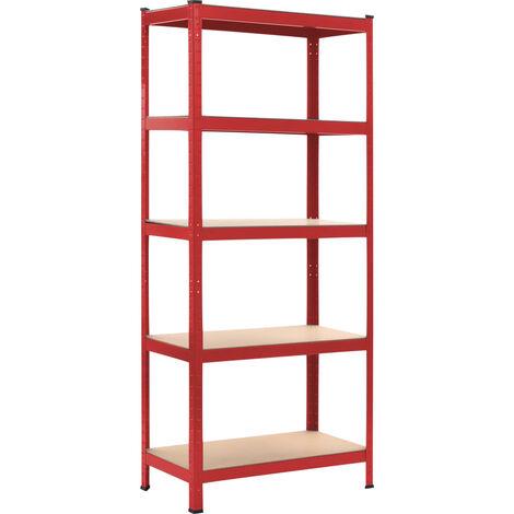 Storage Shelf Red 80x40x180 cm Steel and MDF