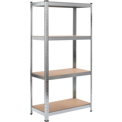 Storage Shelf Silver 80x40x160 cm Steel and MDF