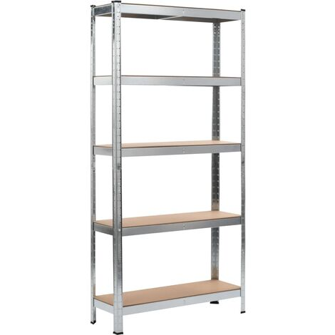 Storage Shelf Silver 90x30x180 cm Steel and MDF