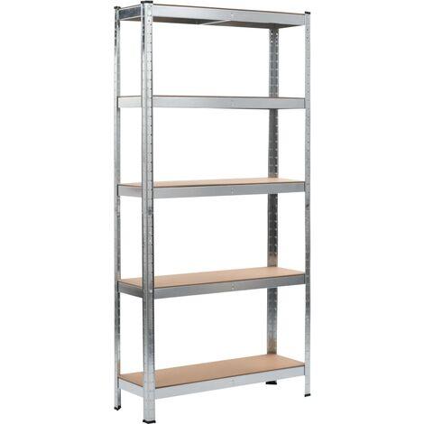 Storage Shelf Silver 90x30x180 cm Steel and MDF - Silver