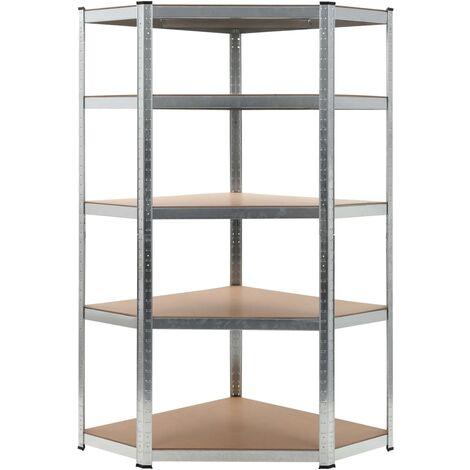 Storage Shelf Silver 90x90x180 cm Steel and MDF - Silver