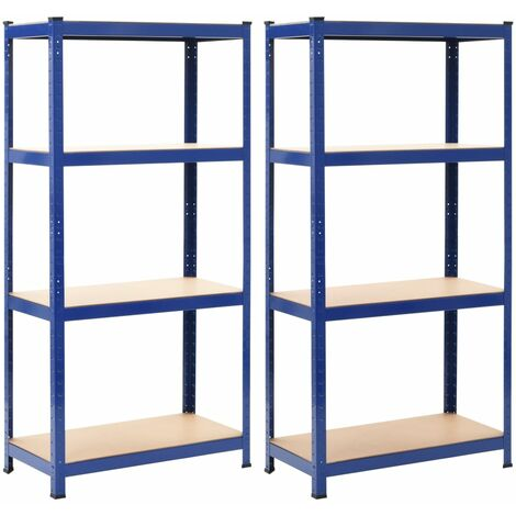 Storage Shelves 2 pcs Blue 80x40x160 cm Steel and MDF