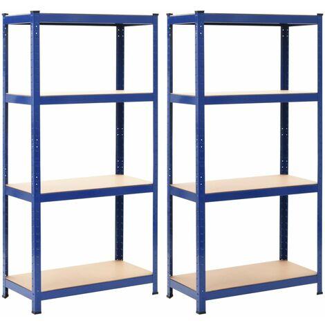 Storage Shelves 2 pcs Blue 80x40x160 cm Steel and MDF - Blue