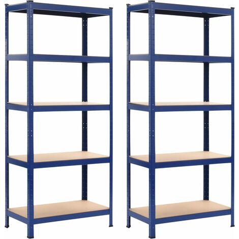 Storage Shelves 2 pcs Blue 80x40x180 cm Steel and MDF