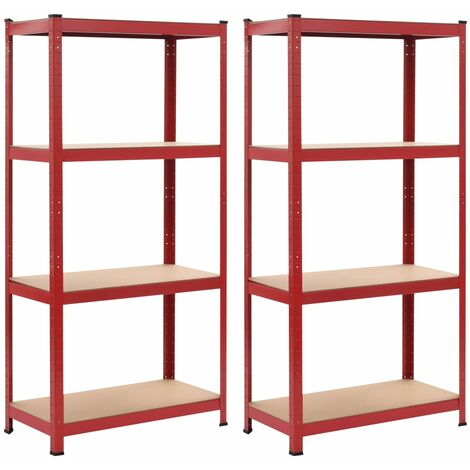 Storage Shelves 2 pcs Red 80x40x160 cm Steel and MDF