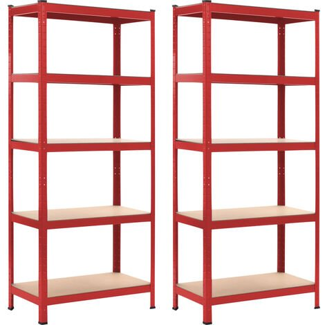 Storage Shelves 2 pcs Red 80x40x180 cm Steel and MDF