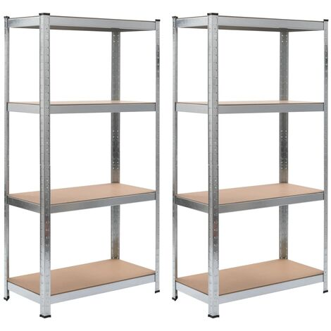 Storage Shelves 2 pcs Silver 80x40x160 cm Steel and MDF - Silver