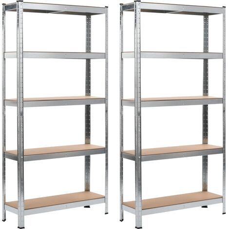 Storage Shelves 2 pcs Silver 90x30x180 cm Steel and MDF