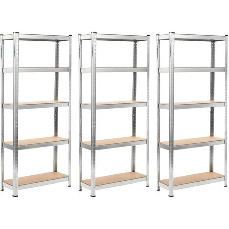 Storage Shelves 3 pcs Silver 75x30x172 cm Steel and MDF - Silver
