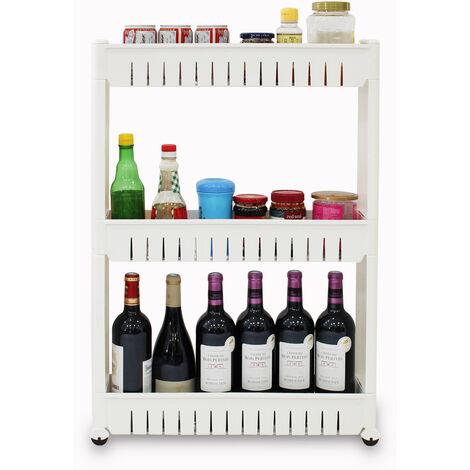 Storage Shelves with Wheels, Storage Rack Bathroom Shelf, 3 compartments, 78 x 54 x 12 cm (30.7 x 21.3 x 4.7 inch), White, Material: Plastic, Polypropylene