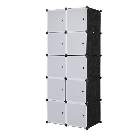 Storage Shelving Unit for Cupboard Bedroom, Storage Shelves Unit 10 Stoarge Cubes White Black Stackable 70x45x150cm