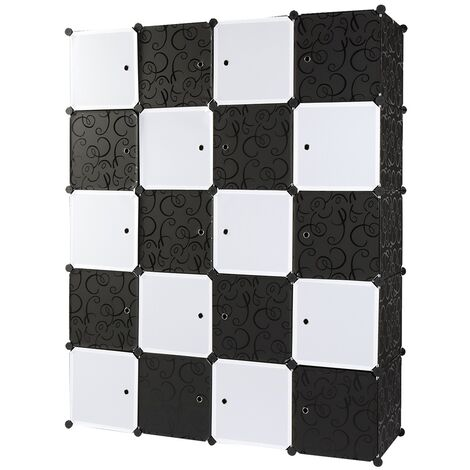 Storage Shelving Unit for Cupboard Bedroom, Storage Shelves Unit 20 Stoarge Cubes White Black Stackable 140x45x175cm