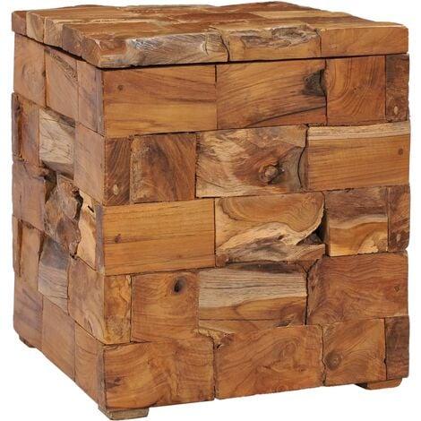 Storage Stool Solid Teak Wood - Brown