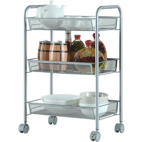 Storage Trolley with Hooks, 3 Tier Slide Out Rolling Utility Cart Storage Shelf Rack on Wheels Multi-purpose Shelf Organizer for Office Kitchen Bedroom Bathroom (Silver)