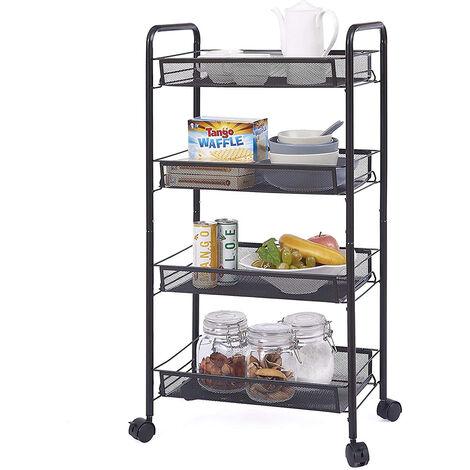 Storage Trolley with Hooks, 4 Tier Slide Out Rolling Utility Cart Storage Shelf Rack on Wheels Multi-purpose Shelf Organizer for Office Kitchen Bedroom Bathroom (Black)