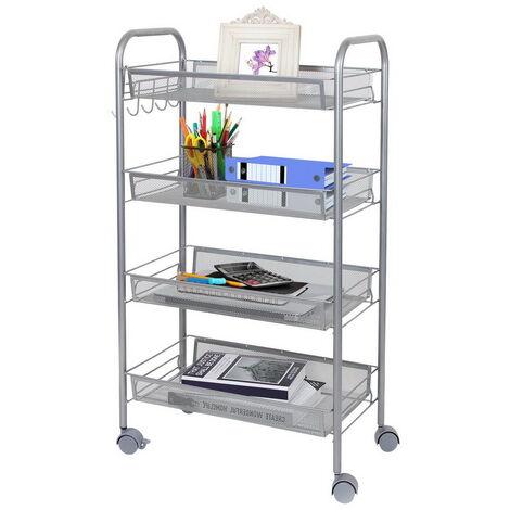 Storage Trolley with Hooks, 4 Tier Slide Out Rolling Utility Cart Storage Shelf Rack on Wheels Multi-purpose Shelf Organizer for Office Kitchen Bedroom Bathroom (Silver)
