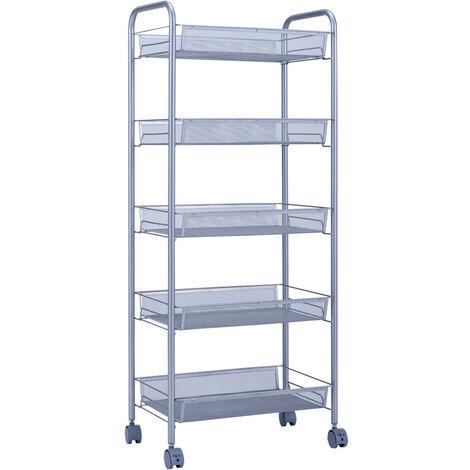 Storage Trolley with Hooks, 5 Tier Slide Out Rolling Utility Cart Storage Shelf Rack on Wheels Multi-purpose Shelf Organizer for Office Kitchen Bedroom Bathroom (Silver)