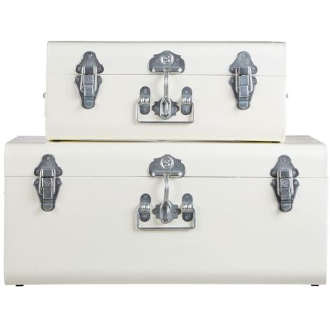 Storage trunks, set of 2,galvanised iron / chrome / ivory colour