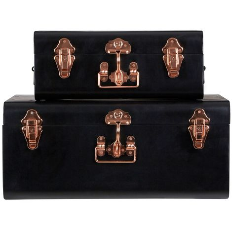 Storage trunks, set of 2,galvanised iron / copper / black