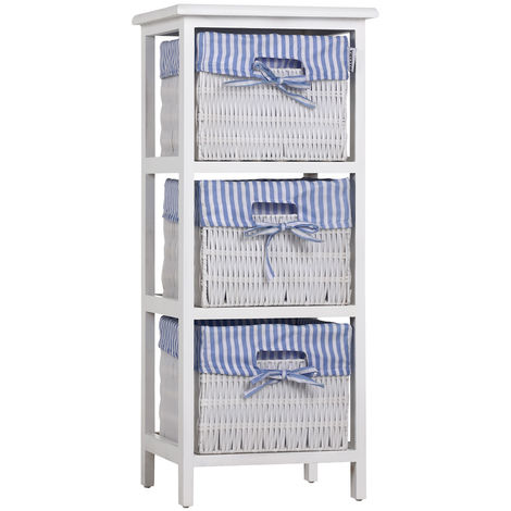Storage Unit Basket Chest of Drawers Wicker Bathroom Furniture Shelf Cabinet