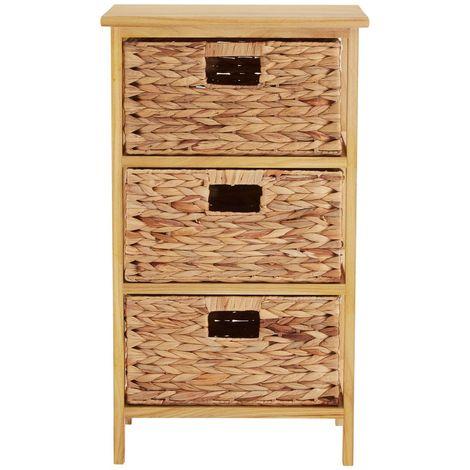 Storage unit, natural water hyacinth,3 basket drawers