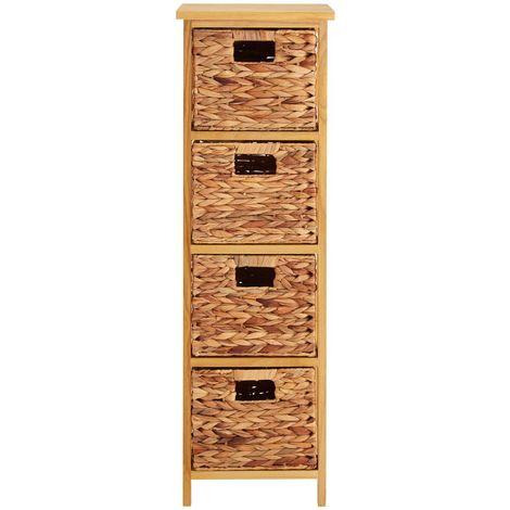 Storage unit, natural water hyacinth,4 basket drawers