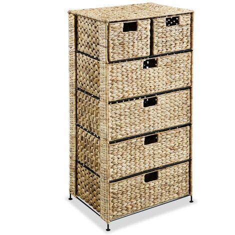 Storage Unit with 6 Baskets 47x37x100 cm Water Hyacinth