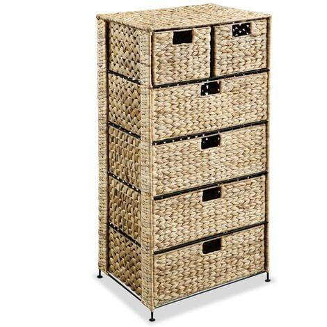 Storage Unit with 6 Baskets 47x37x100 cm Water Hyacinth - Brown