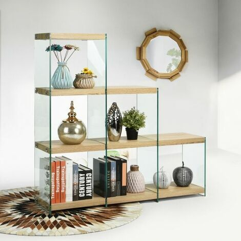 Storage Unit, Wooden Bookcase 6-Cube Step Style with Clear Tempered Glass Storage Shelf for Living Room Study Room Balcony Office