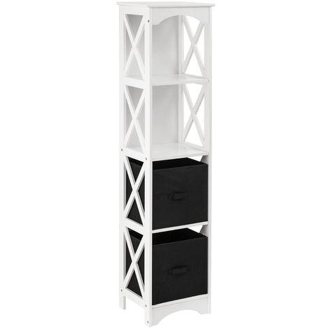 Storage Unit,2 Black Box Drawers/2 Shelves,White