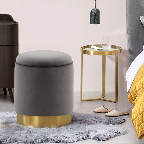 Storage Vanity Stool Round Ottoman Chair Pouffe Box Footrest Seat Grey