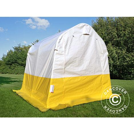 Storage work tent PRO 2x2x2 m, PVC, White/Yellow, Flame retardant
