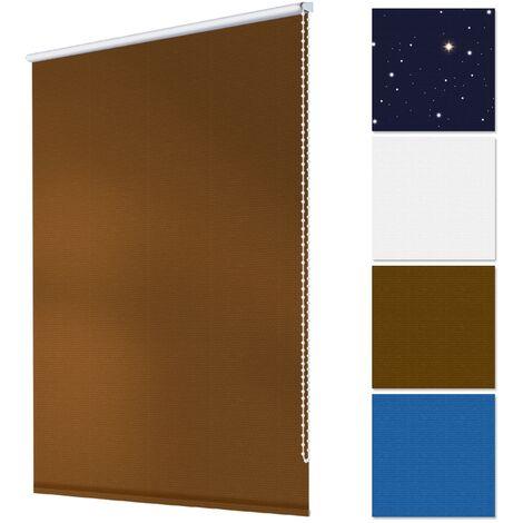 Store à enrouleur aveugle occulante sans perçage Klemmfix 45 x 150 cm marron