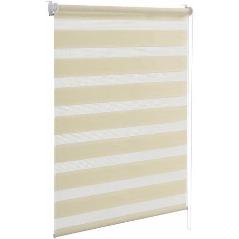 Store à enrouleur zèbre (100 x 175 cm) (crème) store double protection solaire, occulter la lumière, sans perçage - Crème