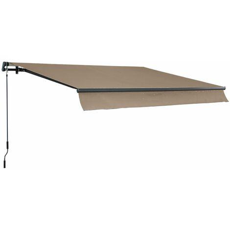 Store banne Alombra 3x2m taupe, aluminium, système manuel, sans coffre, 295cm, toile polyester enduite 280g