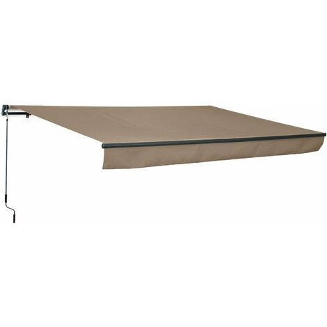 Store banne Alombra 4x2,5m taupe, aluminium, système manuel, sans coffre, toile polyester enduite 280g, ombrage mural
