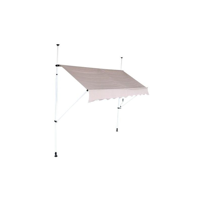Store banne auvent avancée de toit rétractable manuel - 2m - Taupe - Beige