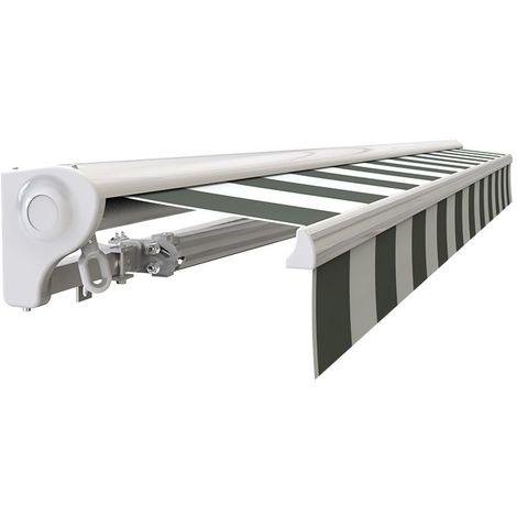 Store banne Demi coffre motorisé et manuel pour terrasse - Blanc gris