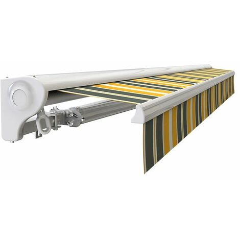 Store banne Demi coffre motorisé et manuel pour terrasse - Gris jaune - 3 x 2,5 m