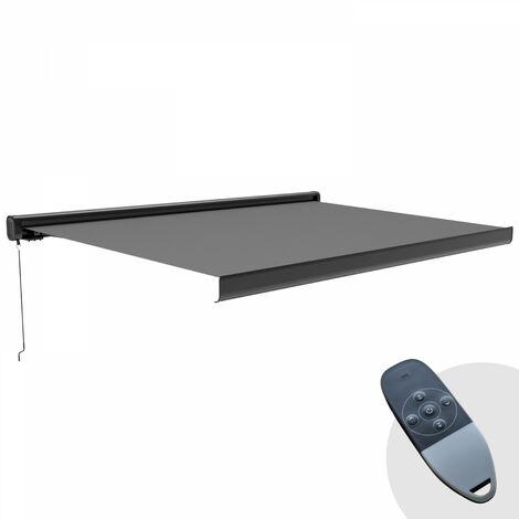 """main image of """"Store banne électrique + Led avec coffre intégral 5 x 3 m Majorque - Gris anthracite et structure noire - Gris"""""""