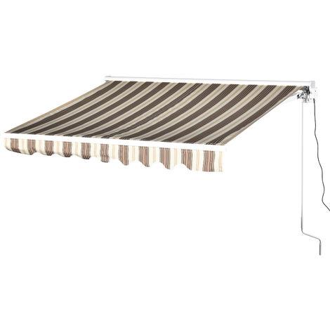 Store banne électrique/manuel rétractable aluminium polyester imperméabilisé 2,45L x 2,0l (avancée)m télécommande fournie marron beige rayé