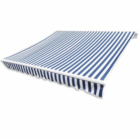 Store banne en toile Bleu et Blanc 6 x 3 m (Cadre non inclus)