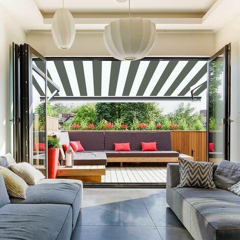 Store banne extérieur coffre intégral motorisé et manuel pour terrasse - Blanc gris - 3 x 2,5 m
