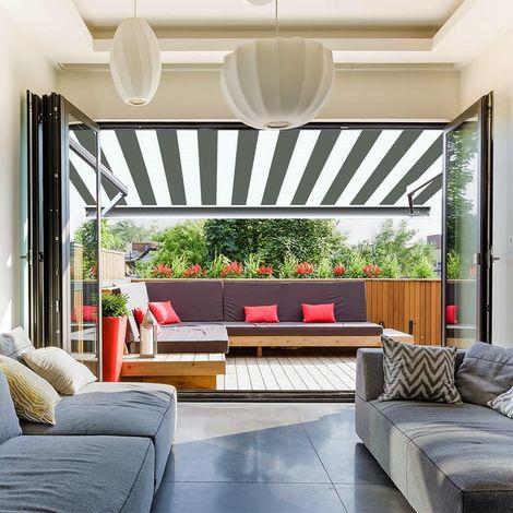 Store banne extérieur coffre intégral motorisé et manuel pour terrasse - Blanc gris
