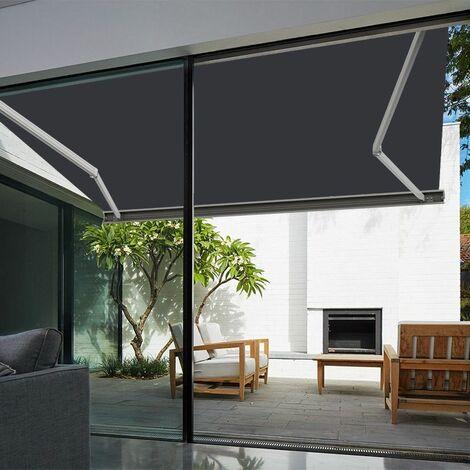 Store banne extérieur coffre intégral motorisé et manuel pour terrasse - Blanc métallisé - Gris anthracite